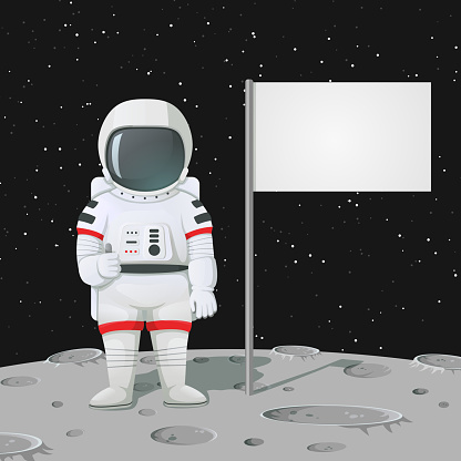 Astronaut giving thumbs up on the moon surface with blank flag, sign.