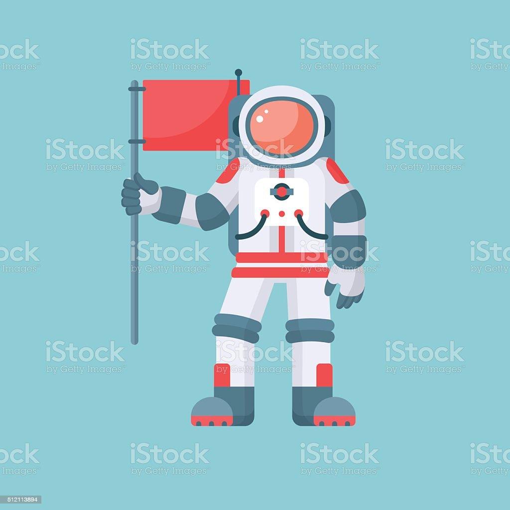 Astronauta con bandiera rossa sola su illustrazione vettoriale sfondo blu - illustrazione arte vettoriale