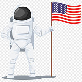 Astronaut in helmet and spacesuit with an American flag in his hand. Cosmonaut vector cartoon chatacter illustration isolated on transparent background.