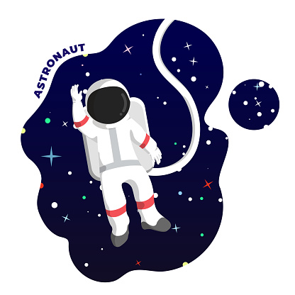 Astronaut in Outer Space Illustration. Vector Stock Illustration.
