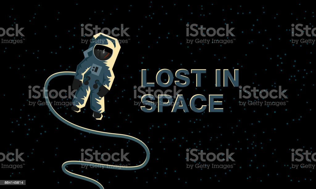 Astronaut in outer space. Lost in space. Flat concept illustration. royalty-free astronaut in outer space lost in space flat concept illustration stock vector art & more images of adult