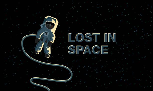 우주 공간에서의 우주 비행사 공간에서 분실. 평면 개념 그림입니다. - lost stock illustrations