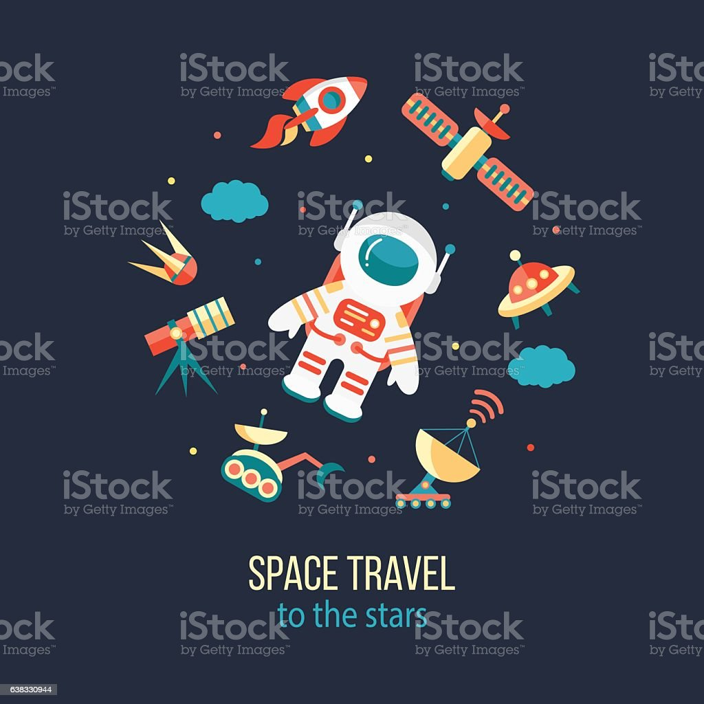 Astronaut in outer space vector art illustration