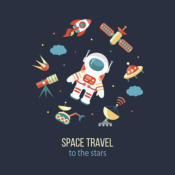 astronaut in outer space - space exploration stock illustrations, clip art, cartoons, & icons