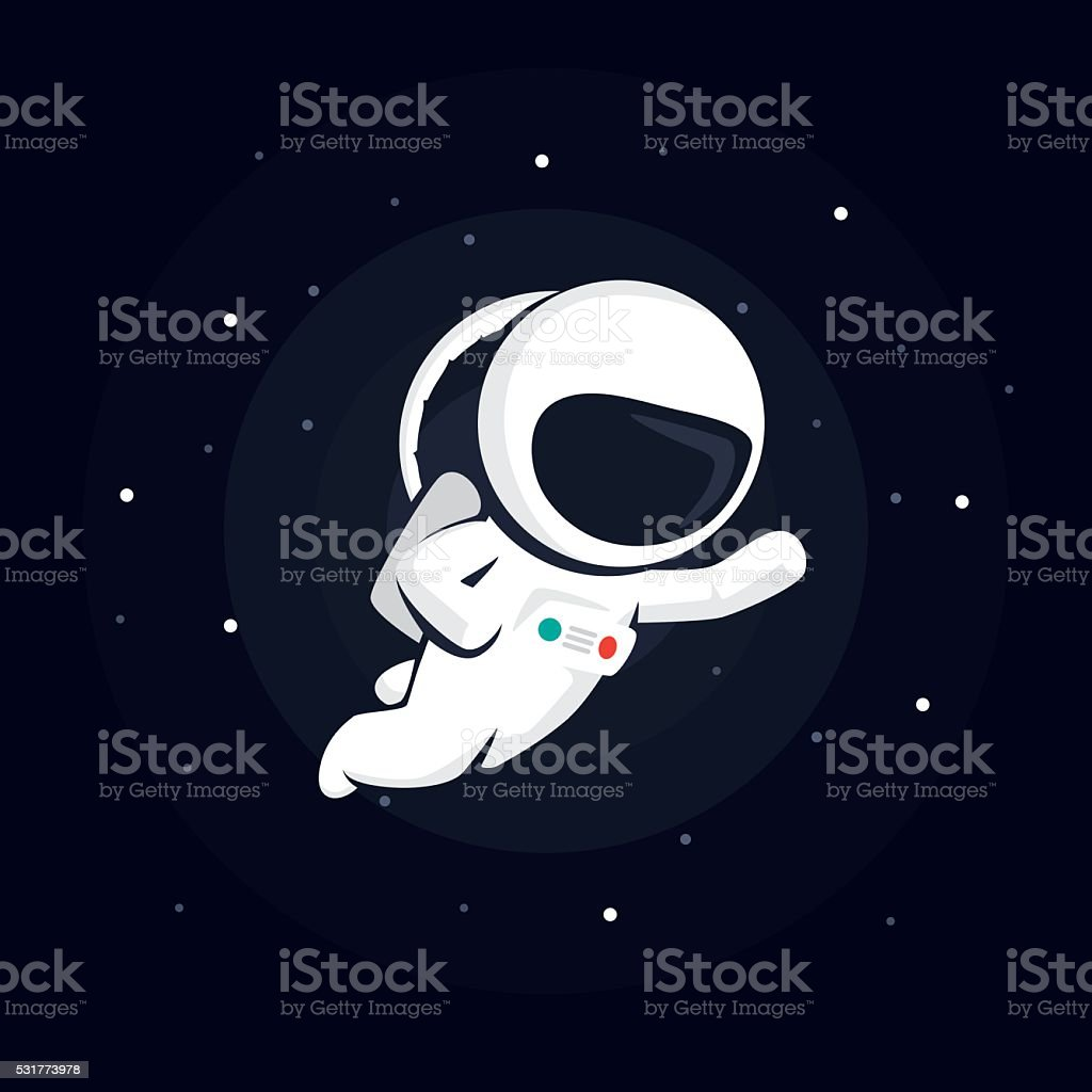 astronaut in space among the stars on a dark background - illustrazione arte vettoriale