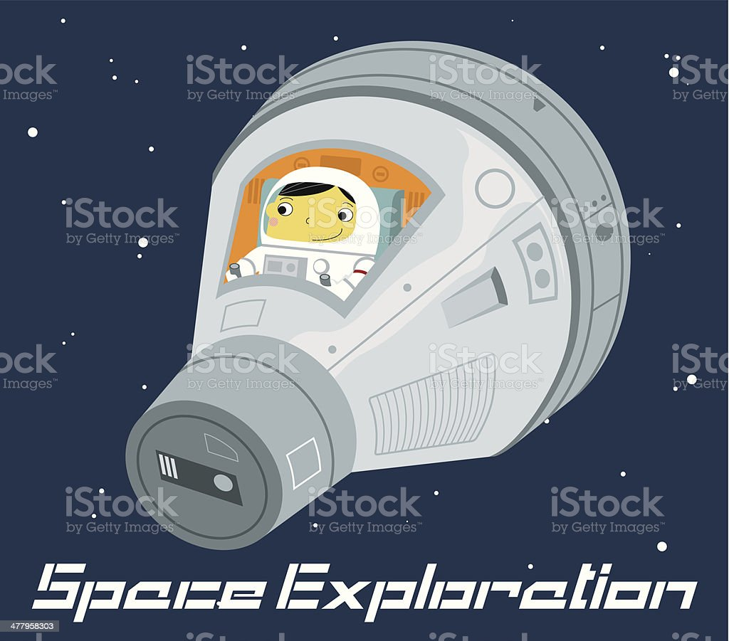 Astronaut in space capsule royalty-free stock vector art