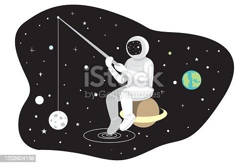 istock Astronaut  In Space / Planet Hunter / Vector Illustration 1203604136