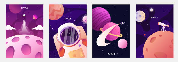 astronaut in space. planets of the solar system. space travel and exploration. set of cartoon vector templates for banners, cards, flyers, brochures. - space background stock illustrations