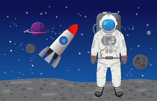 Astronaut in space , rocket, spaceship,  moon  vector design.