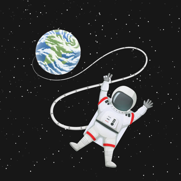 Astronaut in space with limbs akimbo, making peace or v sign connected to the Earth. Vector illustration. Astronaut in space with limbs akimbo, making peace or v sign connected to the Earth. Dark space with stars on a background. astronaut floating in space stock illustrations