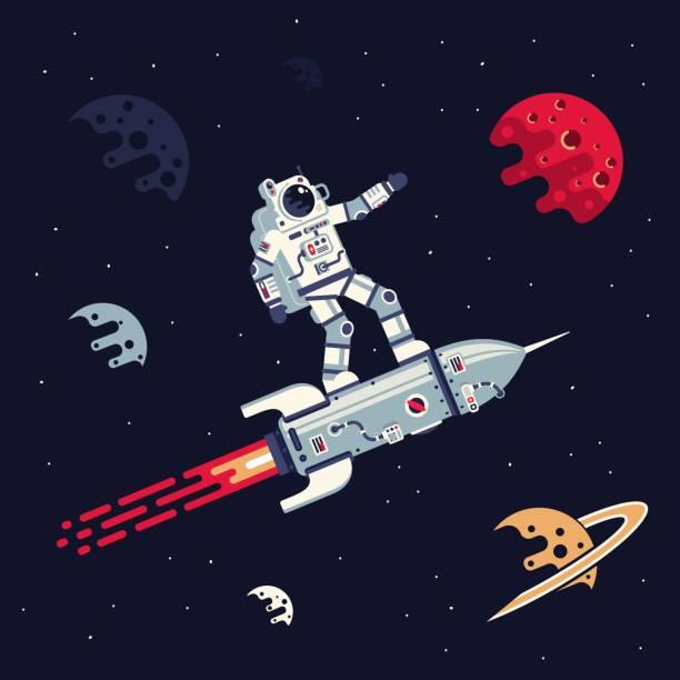 stockillustraties, clipart, cartoons en iconen met astronaut in ruimtepak vliegt staande op raket in de ruimte onder planeten en sterren - ruimte exploratie