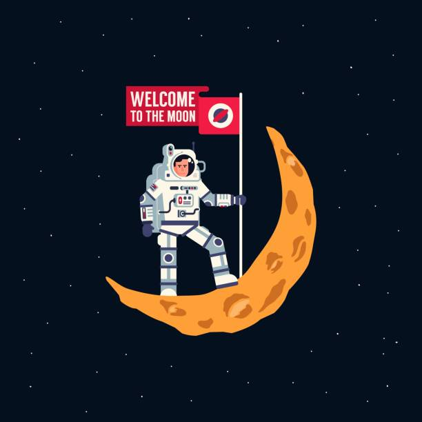 Bекторная иллюстрация Astronaut in spacesuit is standing on crescent moon with flying flag