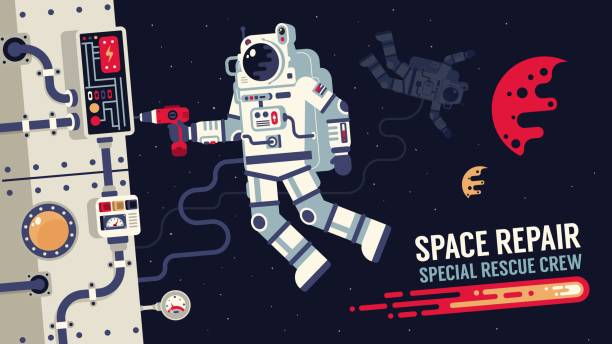 Astronaut in  spacesuit repair a spaceship in outer space Astronaut in  spacesuit repair a spaceship in outer space - Illustration of flat design. astronaut floating in space stock illustrations