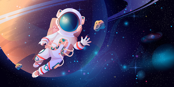 Astronaut in spacesuit with helmet discovering outerspace. Vector cartoon cosmonaut science in cosmos, planet and stars on background. Exploration of space, floating interstellar, cosmic adventures