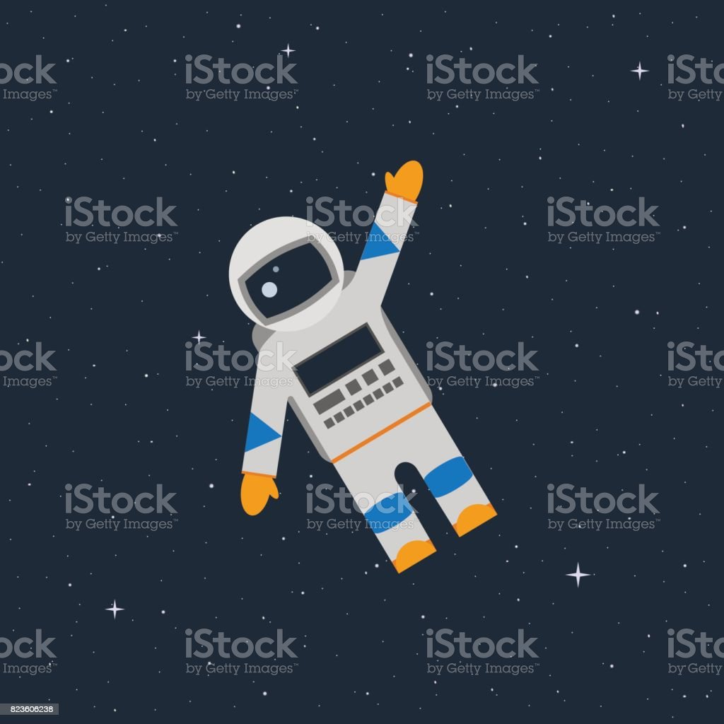 astronaut in the open space waves his hand - illustrazione arte vettoriale