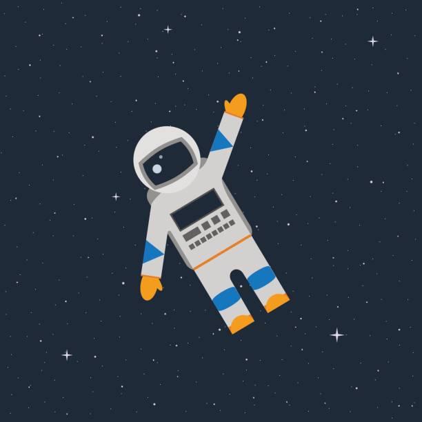 astronaut in the open space waves his hand - illustrazione arte vettoriale