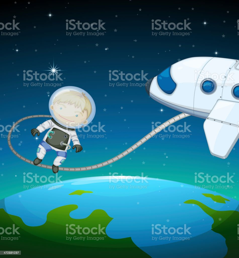 Astronaut in the outer space royalty-free stock vector art