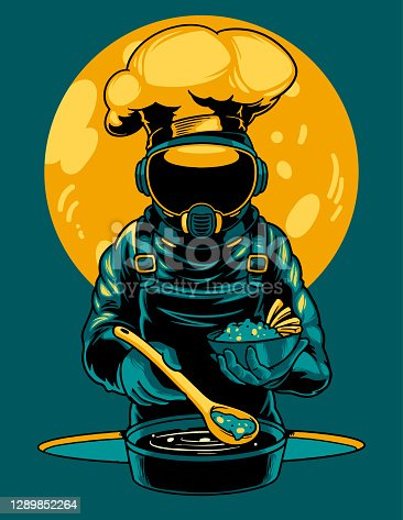 Astronaut is cooking cartoon vector icon illustration. A professional cosmonaut chef is preparing food on the space in the sun. Print for t-shirts and another, trendy apparel design