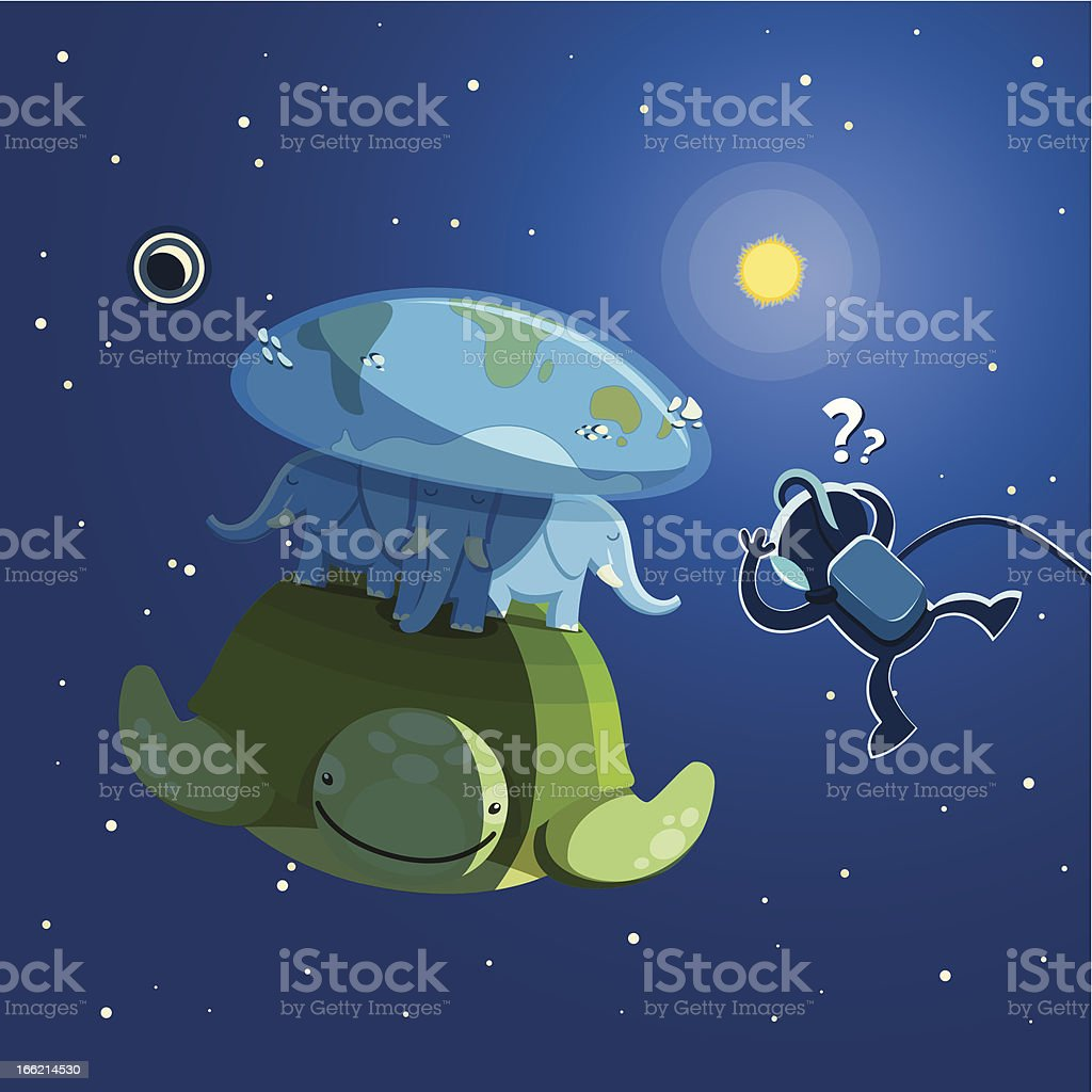 Astronaut is surprised royalty-free stock vector art