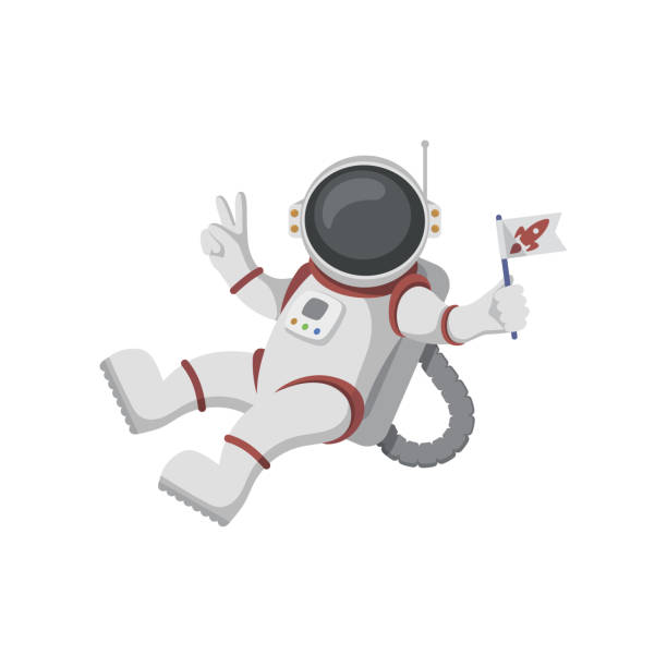 Astronaut isolated on white background Funny cartoon astronaut isolated on white background astronaut floating in space stock illustrations