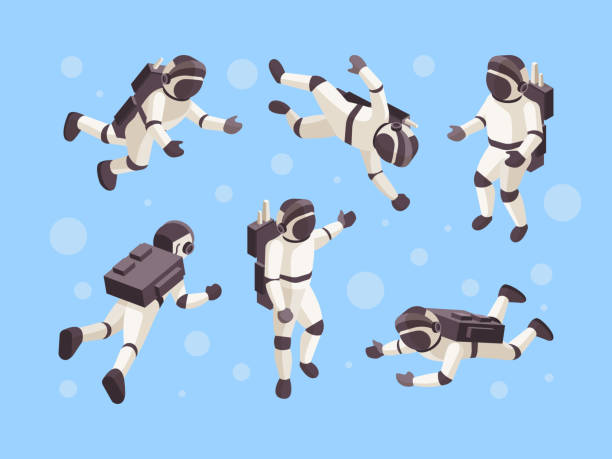 Astronaut isometric. Cosmo space futuristic human in special clothes vector astronaut in different poses Astronaut isometric. Cosmo space futuristic human in special clothes vector astronaut in different poses. Illustration astronaut isometric in weightlessness astronaut floating in space stock illustrations