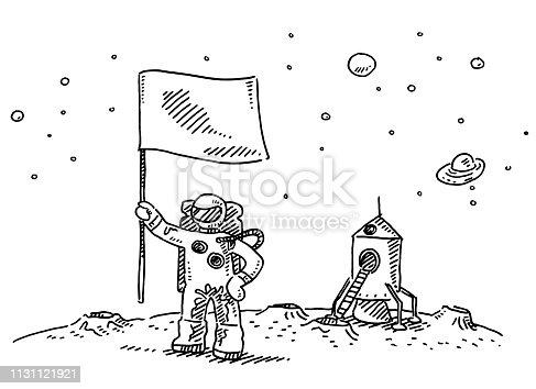 istock Astronaut Landing On Moon Flag Drawing 1131121921