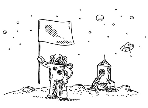Astronaut Landing On Moon Flag Drawing
