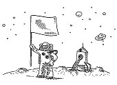 Astronaut Landing On Moon Flag Drawing