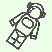 istock Astronaut line icon. Cosmonaut in suit in space outline style pictogram on white background. Universe and Astronomy signs for mobile concept and web design. Vector graphics. 1222147057