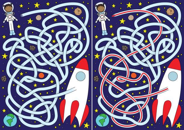 Astronauta labirinto - ilustração de arte em vetor
