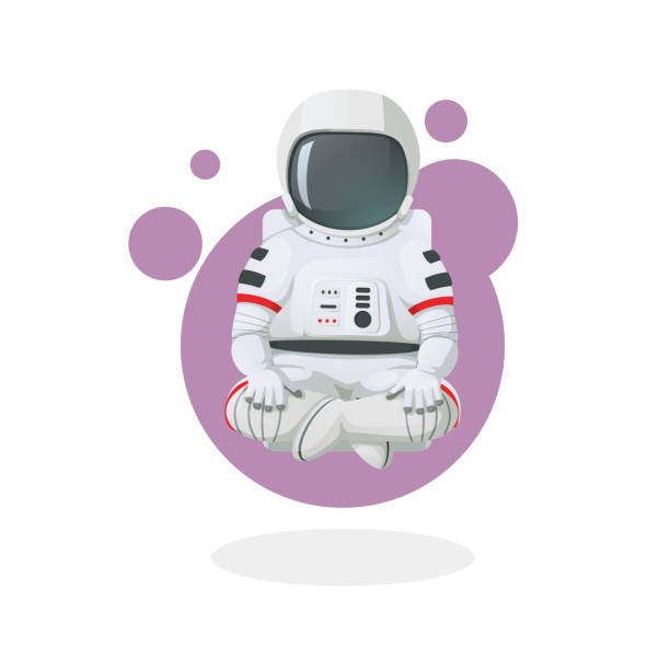 Astronaut meditating, relaxing in lotus pose. Space icon. Vector illustration. Space icon. Astronaut sitting in lotus position, meditating, relaxing floating above ground isolated with white background. astronaut floating in space stock illustrations