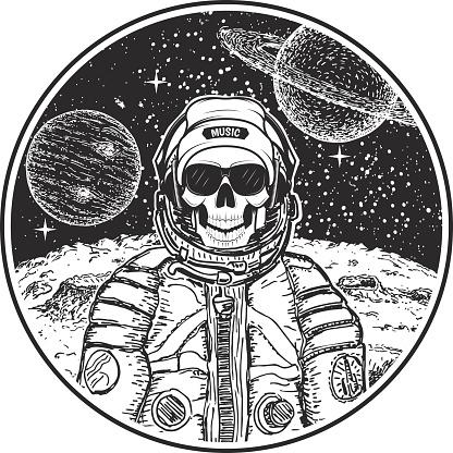 Astronaut music skull vector modern t-shirt design template