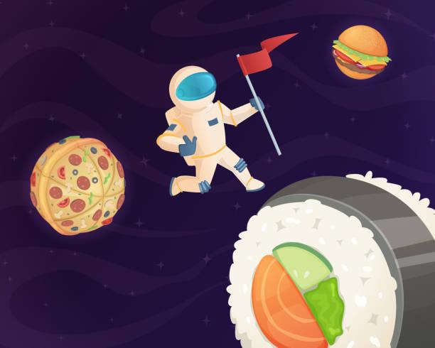 astronaut auf lebensmittel planeten. fantasie raum mit süßigkeiten fastfood burger pizza und verschiedene süßigkeiten weltstars fantastische himmelshintergrund vektor - hamburger schnellgericht stock-grafiken, -clipart, -cartoons und -symbole