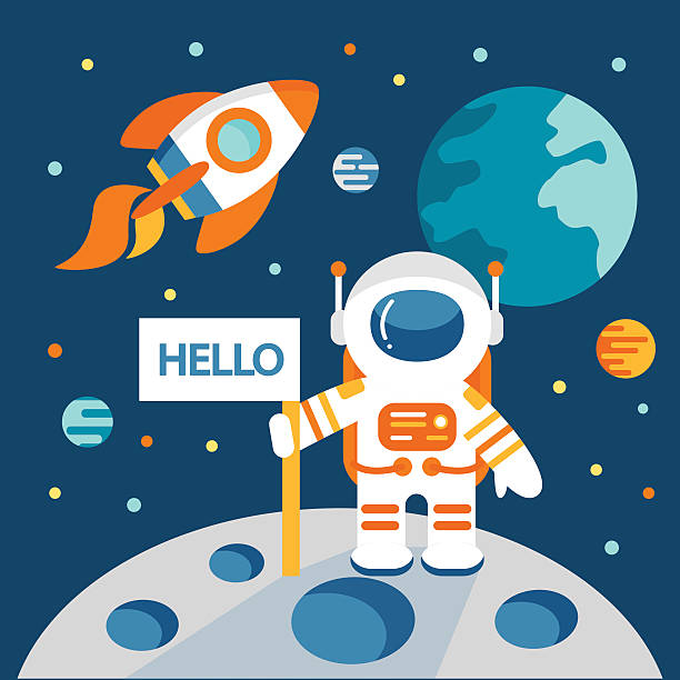 Astronaut on the moon Astronaut on the moon in flat style, vector illustration, outer space astronaut floating in space stock illustrations