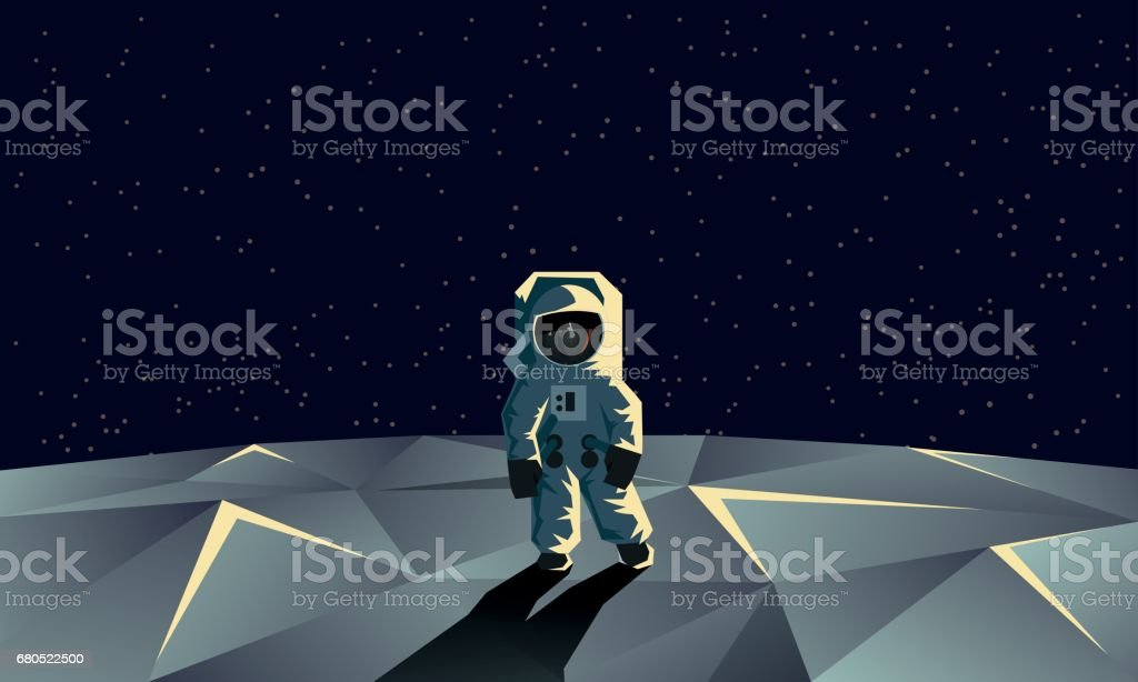 Astronaut on the polygonal moon surface. Flat geometric space illustration. - illustrazione arte vettoriale