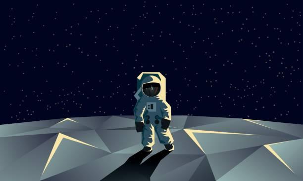 Astronaut on the polygonal moon surface. Flat geometric space illustration. - illustrazione arte vettoriale