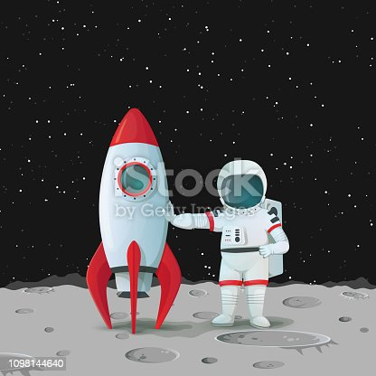 Astronaut on the surface of the moon standing near the rocket ship and touching it with one hand and with other hand akimbo with dark sky and stars in the background. Vector space icon.