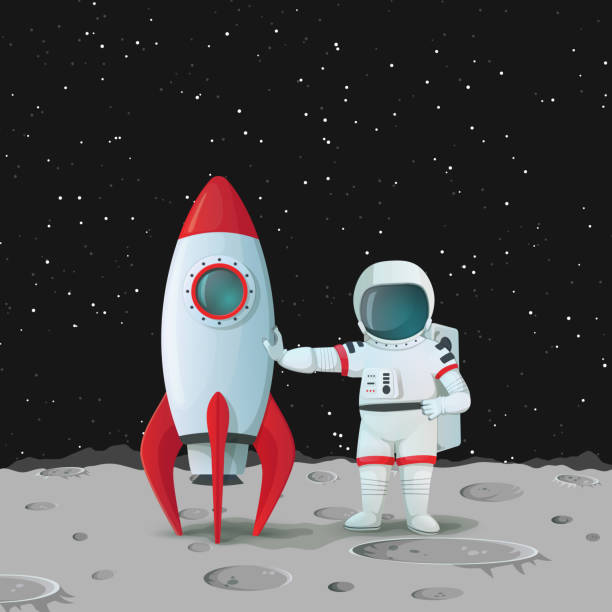ilustrações de stock, clip art, desenhos animados e ícones de astronaut on the surface of the moon standing near the rocket ship and touching it with one hand and with other hand akimbo with dark sky and stars in the background. - exploração espacial