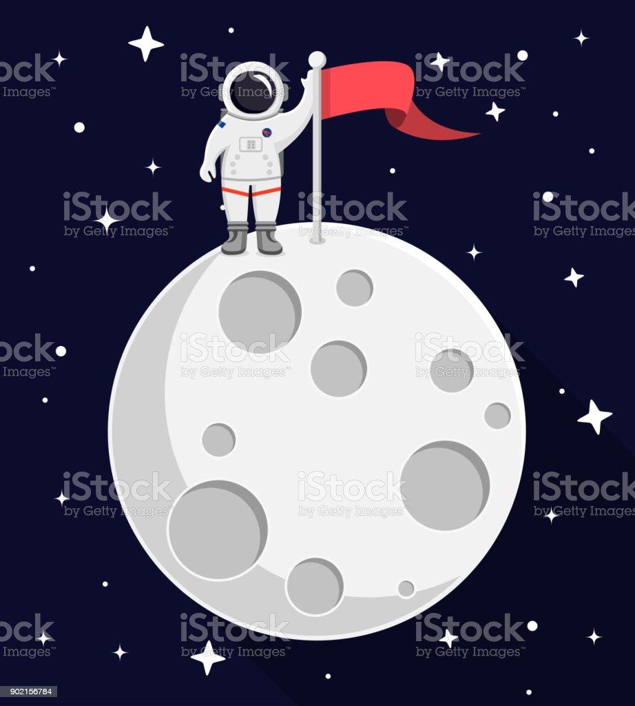 宇宙飛行士月フラットなデザインの上に ベクターアートイラスト