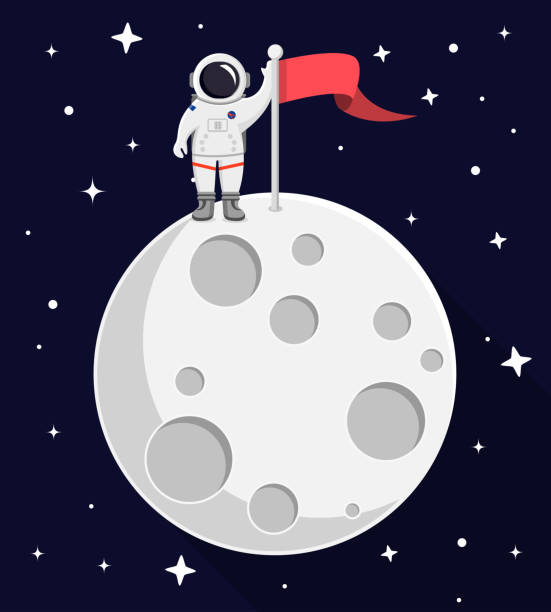 astronaut on top of the moon flat design - moon stock illustrations, clip art, cartoons, & icons