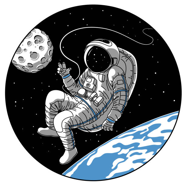 Astronaut or cosmonaut in open space vector sketch illustration Astronaut or cosmonaut in open space vector illustration. Sketch retro design of astronaut in space suit on earth or moon planet orbit showing hello hand gesture in porthole window of spaceship rocket astronaut floating in space stock illustrations
