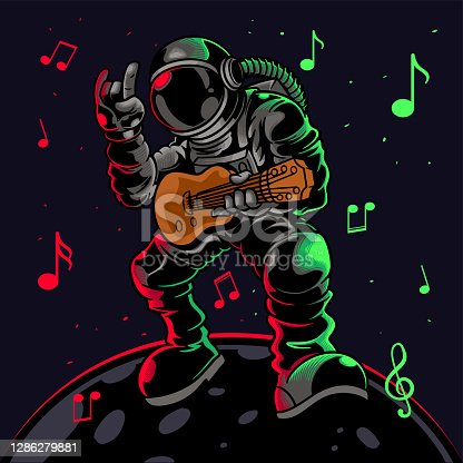 istock Astronaut playing guitar with metal symbol hand gesture. Cool dude astronauts spaceman play astro rock on electric guitar on a planet. Vector illustration for t-shirt prints, posters and other uses. 1286279881