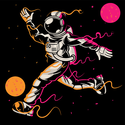 Astronaut playing soccer or football in space on black background. Sporty astronaut kick the ball between stars and moon planets galaxies. Good for print design t-shirt apparel poster children