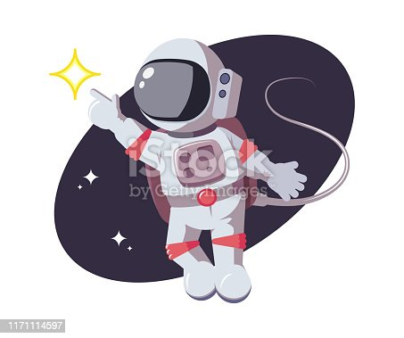 Astronaut points his finger at shining star. Exploring new planets, galaxies, space discoveries concept. Man in cosmonaut costume in flat style for comic, games and other design needs
