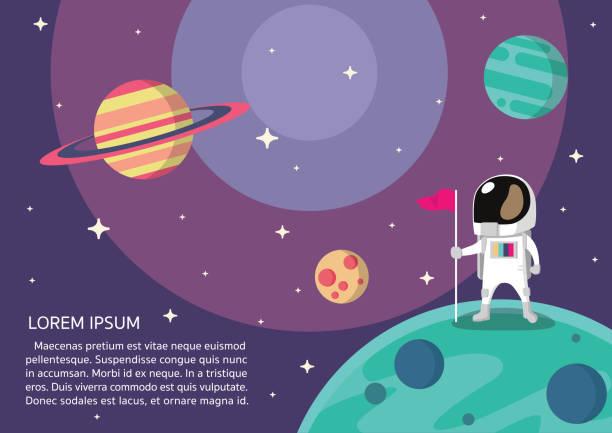astronaut presentation vector - space background stock illustrations