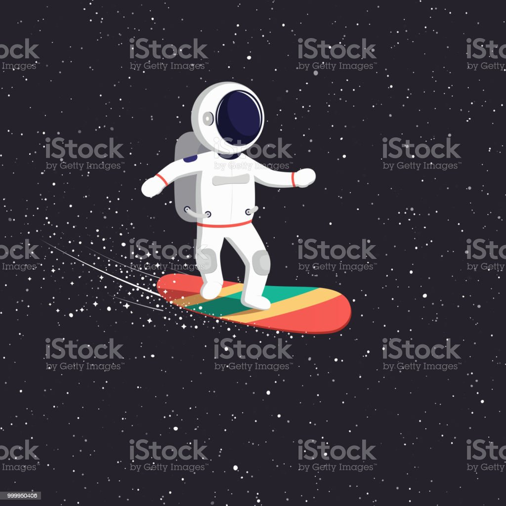Astronaut Rides On Flying Board On Universe Cosmic Path
