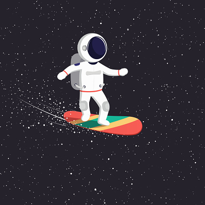 Astronaut rides on flying board on universe. Cosmic path spaceman through the universe.