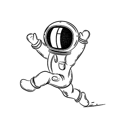 Astronot Uzayda Calisir Boyama Sayfasi Stok Vektor Sanati