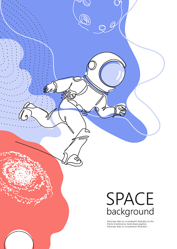 Astronaut runs in space. One line drawing. Continuous line.