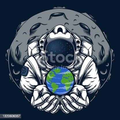 Astronaut safe earth vector illustration